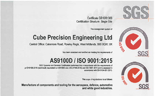 We\'re approved to revision D of the AS9100! | Cube Precision